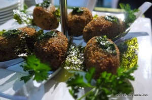 Atlantic Salt Cod Fritters with Cilantro and Watercress Pesto