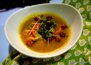 Moroccan Inspired Cauliflower Soup with Crispy Chick Peas